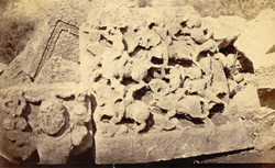 Sculptured slabs at Ghumli, Kathiawar